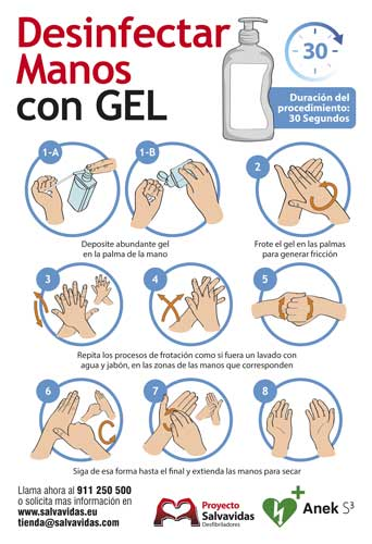 Infographic on how to disinfect hands with hydroalcoholic gel