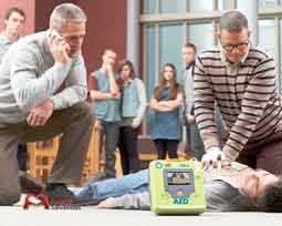 Neighborhood communities with external defibrillators