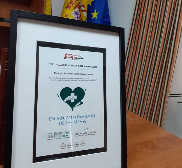 Certificate of cardioprotected municipality against sudden death