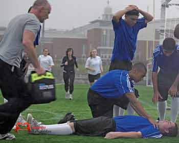 Defibrillators in soccer fields and sports facilities