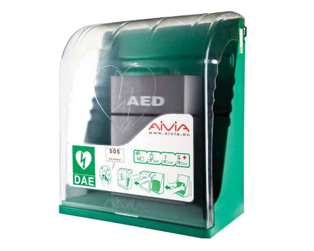 Defibrillator display cases